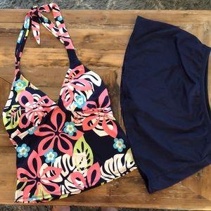 Jantzen classic navy blue tankini & swim skirt. 8